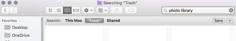deleted Photos Library on my Mac - search